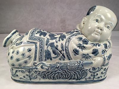 Antique Vintage Chinese Blue & White Porcelain Boy Baby Figural Pillow