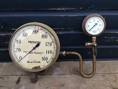 Vintage industrial steampunk brass gauges and pipework