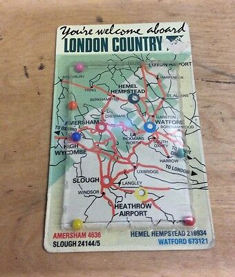 Vintage London County Bus & Coach Pocket Catch A Ball Game Advertising Routes