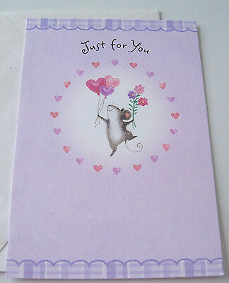 Unused Valentine's Day Card Cute Mouse Dancing w Heart Balloons & Flowers