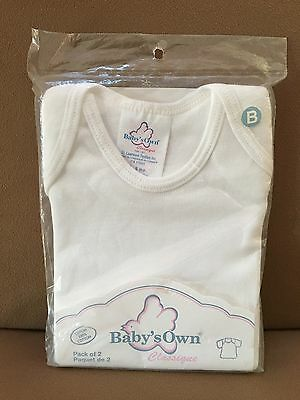 NEW Pack of 2 Baby's Own Short Sleeve 6m T-shirt 100%COTTON  White