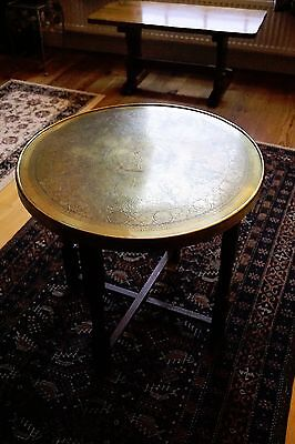 Vintage Brass circular table with folding legs