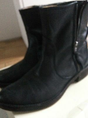 Womens Seven Boot Lane Ankle Boots Black Leather 6.5/40