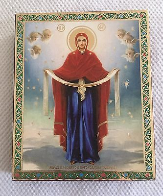 Mother of God Russian Orthodox Wooden Icon with Gold leaf Detail