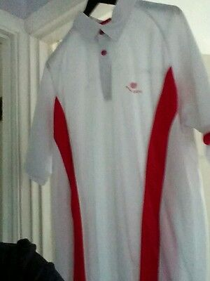 White Palm Grove short sleeved golf polo shirt with red stripes - Medium