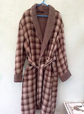 Mens Collard Wool Calf Length Dressing Gown Size L Brown Check With Pockets
