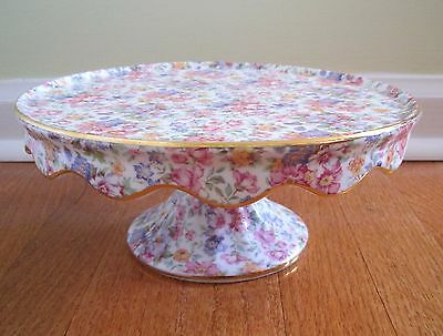 Vintage Royal Cotswolds CAKE STAND PLATE Roses Lilac Pink Purple Yellow Flowers