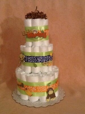 3 Tier Diaper Cake Mom's Little Monkey Baby Shower Centerpiece