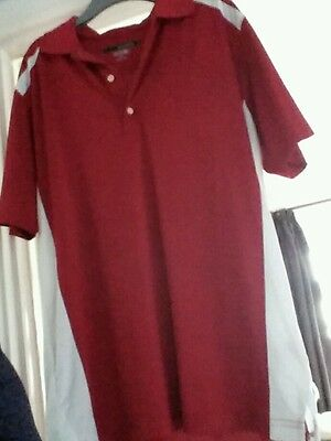 Greg Norman PLAYDRY red short sleeved golf polo shirt with white stripes