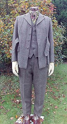 Vintage Tweed Norfolk 3 Piece Country Suit. Watch Chain Buttonhole. 40'' Chest