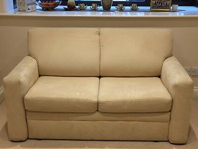 2 seater faux suede cream sofa bed