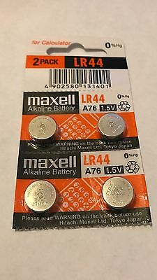 4pc BRAND NEW MAXELL LR44 A76 L1154 AG13 357 SR44 303 BATTERY 2020 Alkaline Coin