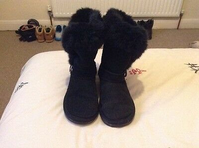 Next Girls Boots Black Suede Size 1