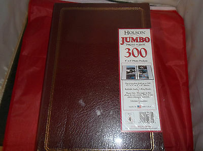 """c20 HOLSON JUMBO Photo Album, Holds 300 4""""x6"""" pictures, 3 per page, Faux Leather"""