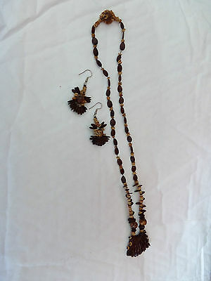 Nice Ethnic African Look Set Mixed Seeds   Necklace  And Drop Earrings