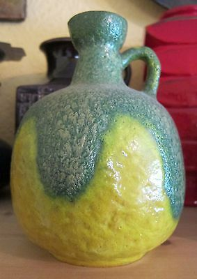 Ruscha Form 333 pitcher/vase unusual yellow and green fat lava West German