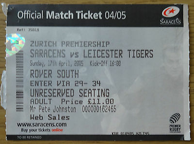 Saracens v Leicester Tigers 17th April 2005 (played at Watford FC)