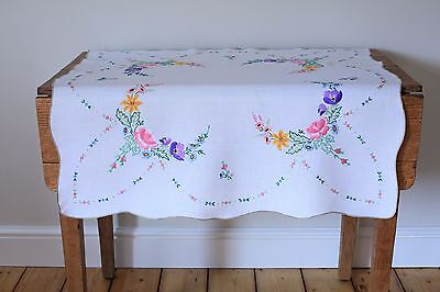 Vintage White Linen Tablecloth Hand Embroidered Flowers RosesViolets