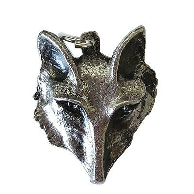 Fox Head Spirit Animal Totem Amulet Pendant Charm Silver-Tone Pewter
