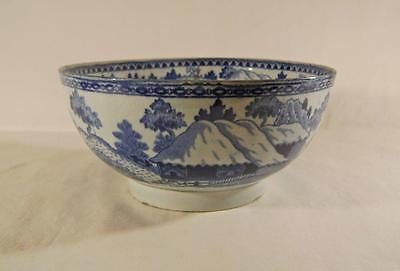 C18th/19th Pearlware Bowl Transfer Printed in Blue with Cabin Pattern  A/F