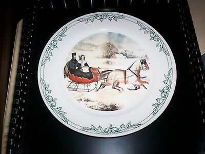 Currier and Ives Plate 2001 Horse Sleigh Winter NY Museum Four Star Internationl