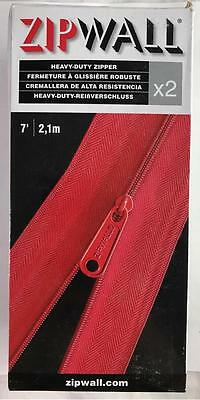 NEW 2 Pack Heavy Duty Red 7' Self Adhesive Zipwall Zippers HDAZ2
