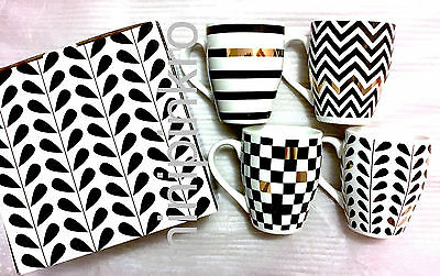 Macy's Designer Pai Tea Cup Mug 4PC set 14k Gold/White/Black w/ Gift Box
