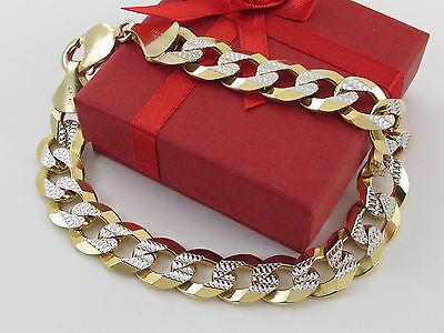 "14 K Solid Yellow And White Gold Curb Cuban Link Men's Bracelet 9""  40.4 grams"