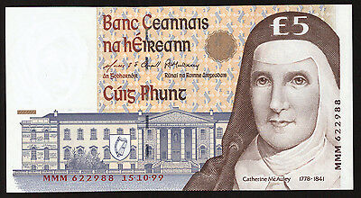 Central Bank of Ireland 5 Pounds C Series. 1999 MMM replacement. Uncirculated