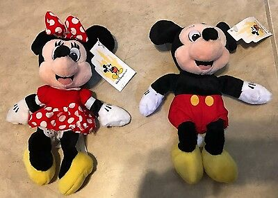 Lot Mickey & Minnie Mouse Official Disney Parks Mini Bean Bag Plush NEW w/Tag 8""