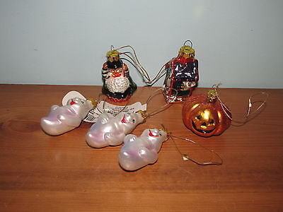 Vintage HALLOWEEN ORNAMENT~HAND PAINTED~BLOWN GLASS WITCH & More (K)