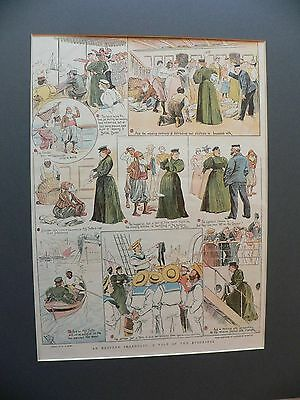 """Original Print From The Graphic 1896 Xmas """"A Tale Of Two Stockings"""" Boyd Horwood"""