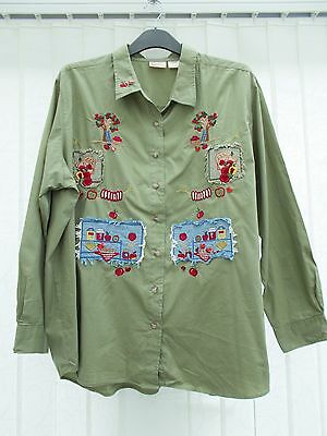 Women's Vintage Green Embroidery & Appliqued blouse Bobbie Brooks Size 22