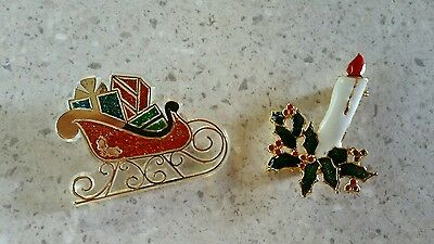 Lot of 2 vintage Christmas pins