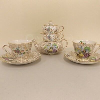 Lord Nelson Ware Pompadour Tea Set With Two Teacups And Saucers