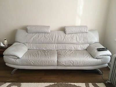 white leather sofa and armchair DFS