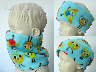 Infant baby OWL BIRD NECK WARMER Animal Boy Girl fleece scarf snood kids toddler