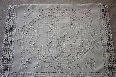 ANTIQUE FRENCH PILLOW CASE pure linen  FIL EMBROIDERY cXIX