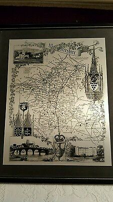 Decorative steel engraved map of Worcestershire Limited edition.