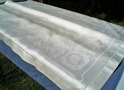 Vintage Pure Linen Damask Tablecloth w/Ornate Pattern, Monogram & Satin Finish