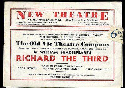 New Theatre Programme 1944 Old Vic Company  RICHARD THE THIRD  Laurence Olivier