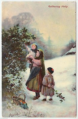 CHILDREN GATHERING HOLLY - Birn Brothers Series #A34 - 1909 used postcard