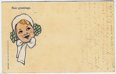 BEST GREETINGS - Little Girl - by Curt Teich / Chicago - 1909 used postcard