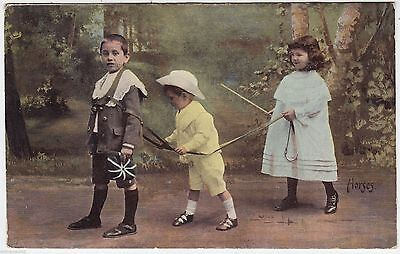 CHILDREN PLAYING HORSES - Girl Driving Harnessed Boys - 1906 used postcard