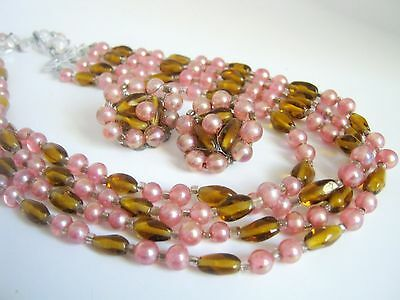 Vintage Japan Necklace and Earring Bead Set
