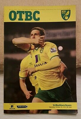 Norwich City v Blackburn Rovers OTBC official programme 2011