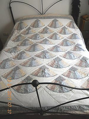 Vintage patchwork quilt in floral cottons Laura Ashley ? Fan Pattern King Double