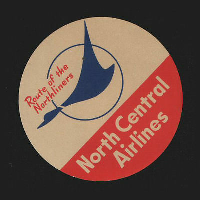 North Central Airline luggage label Baggage Label small USA company  #140