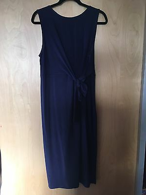 Asos Maternity Midi Dress Generous Size 14 (more Like 16) Navy With Bow