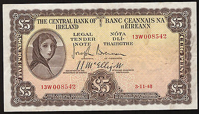 Ireland Central Bank of Ireland £5 Five Pounds 1948. Nice Very Fine